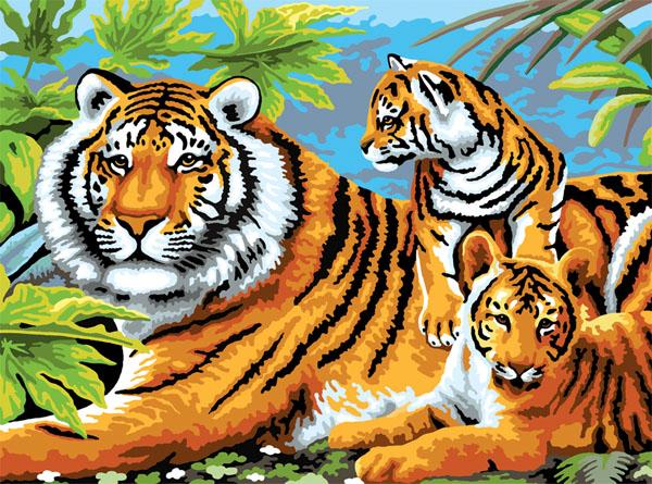 malen nach zahlen  tiger mit jungen  ebay